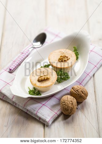 mousse with ricotta and nuts, selective focus