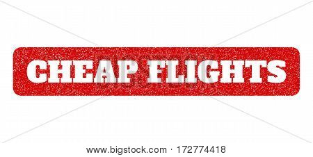 Red rubber seal stamp with Cheap Flights text hole. Vector message inside rounded rectangular banner. Grunge design and dust texture for watermark labels. Scratched emblem.
