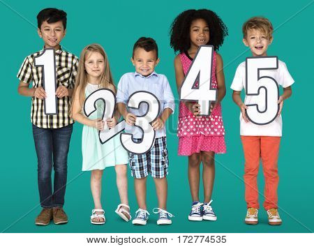 Little Children Friends Holding Numbers