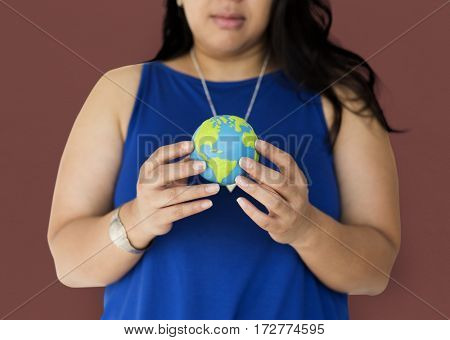 Woman holding world planet illustration