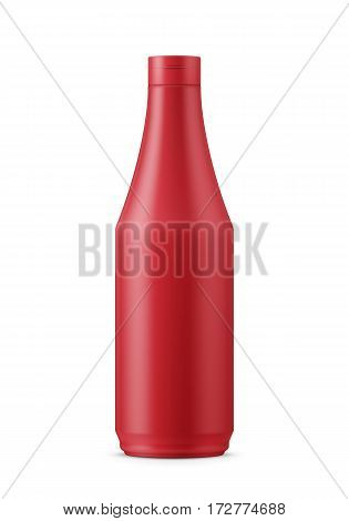 Round red matte plastic bottle for tomato ketchup, condiment, sauce. 900 g. Realistic packaging mockup template. Front view. Vector illustration.