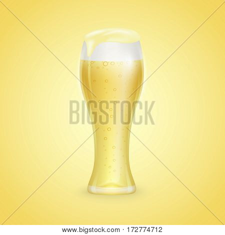 Glass of beer whith drops isolated on yellow background
