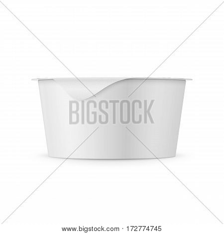 Round white plastic pot with matte carton wrap and foil cover for dairy products, yogurt, cream, dessert.. 130 g. Realistic packaging mockup template. Side view. Vector illustration.