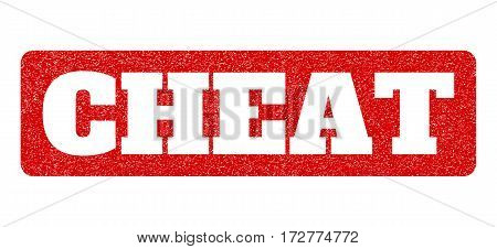 Red rubber seal stamp with Cheat text hole. Vector tag inside rounded rectangular banner. Grunge design and scratched texture for watermark labels. Scratched emblem.