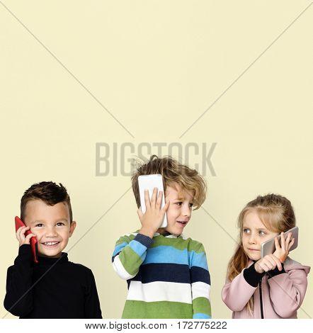 Little Children Talking On Phone Technology