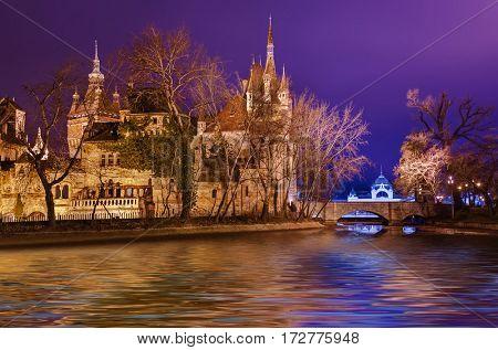 Vajdahunyad castle in Budapest Hungary - cityscape architecture background
