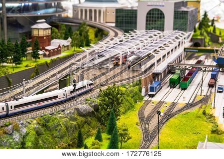 MOSCOW, RUSSIA - February 19, 2017. Model of railway cargo and passenger station