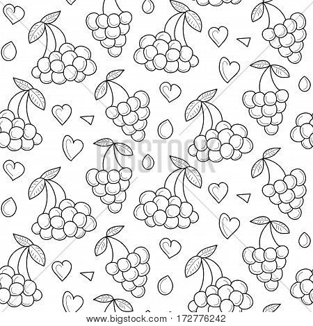 Vector berries seamless pattern with hearts. Berries summer endless background