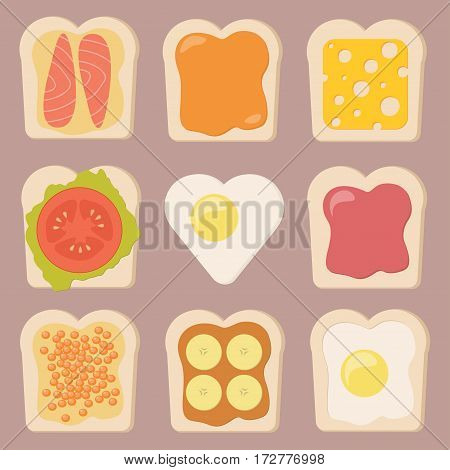 Vector set of different types of toasts. Cartoon style