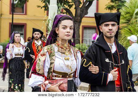 SELARGIUS, ITALY - September 13, 2015 Ancient marriage Selargino - Sardinia - Parade of folk group Don Milani Dorgali