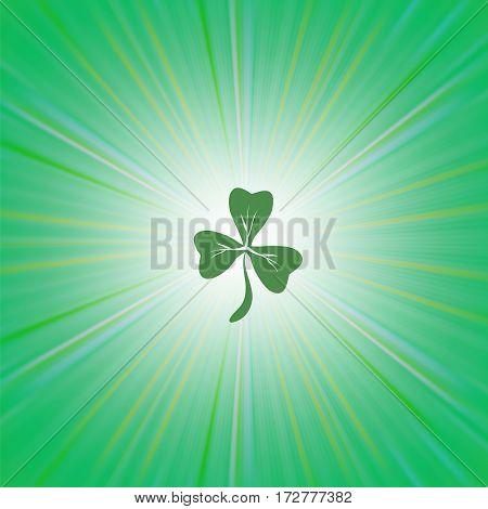 Clover Icon on Green Wave Pattern. Shamrock Leaf. St. Patricks Day Background