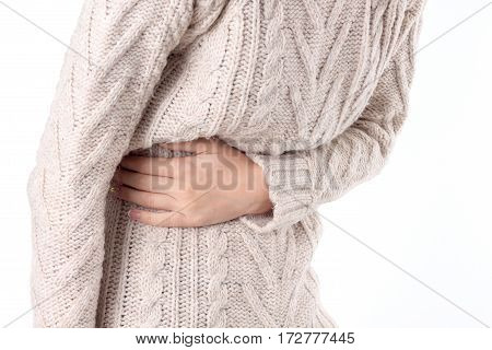 woman with stomach ache isolated on white background