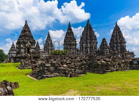 Prambanan temple near Yogyakarta on Java island Indonesia - travel and architecture background