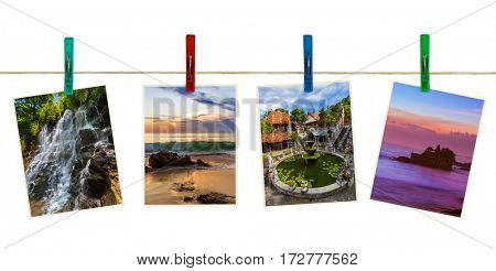 Bali Indonesia travel images (my photos) on clothespins isolated on white background