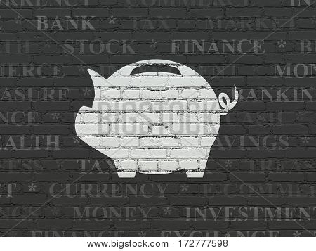 Banking concept: Painted white Money Box icon on Black Brick wall background with  Tag Cloud
