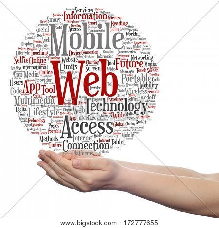 Concept or conceptual mobile web portable multimedia technology circle word cloud in hand isolated on background