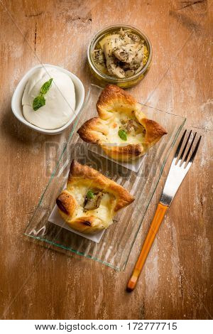 appetizer canapes with artichoke and mozzarella
