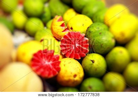 Fresh, exotic fruit on traditional market in India
