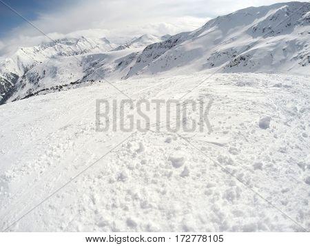 Beautiful winter at skiing terrain in mountain