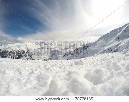 Mountain peaks with white snow