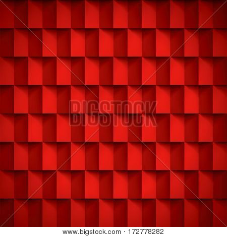Volume realistic vector texture, cubes, red geometric pattern, design wallpaper