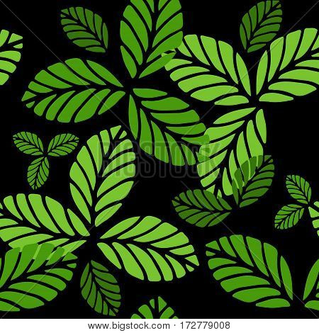 Fashion seamless vector pattern with greenery leaves