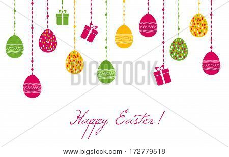 Easter vector greeting card with hanging eggs and gift boxes