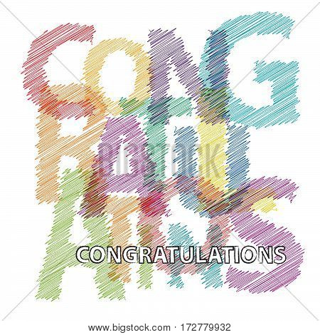 Vector congratulations. Colorful broken text scrawled isolated