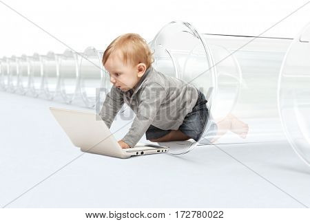 little child with pc and test tube vitro concept of modern kid