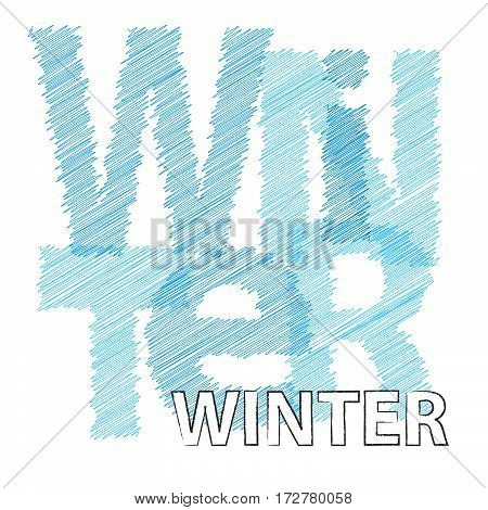 Vector winter. Colorful broken text scrawled isolated