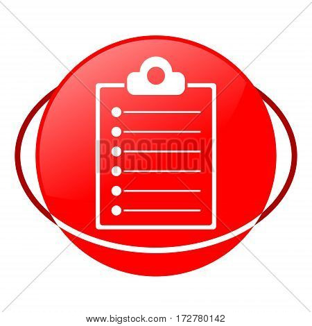Red icon, clipboard list vector illustration on white background