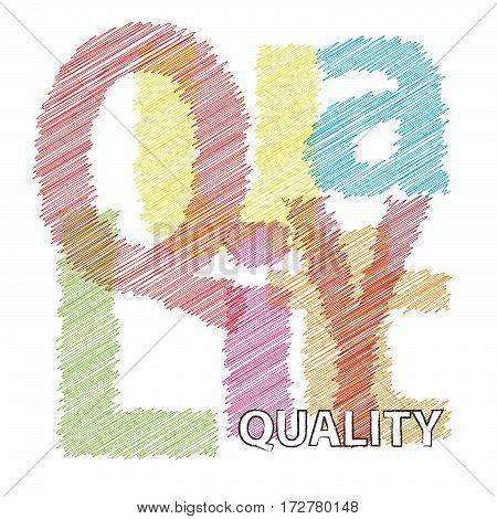 Vector Quality. Colorful broken text scrawled isolated