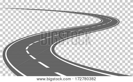 Curved road with white markings. Vector illustration