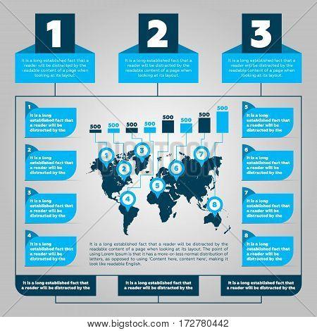 Infographics steps with worldmap and bar chart