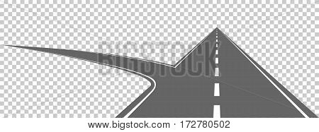 Highway with a side road. Vector illustration