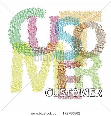 Vector customer. Colorful broken text scrawled isolated