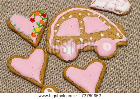 Baby Cookie On Burlap In A Heart Shape