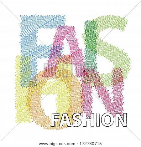 Vector fashion. Colorful broken text scrawled isolated