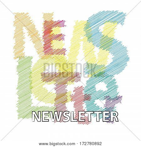 Vector Newsletter. Colorful broken text scrawled isolated