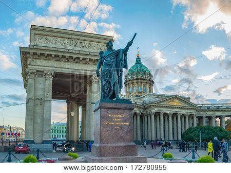 ST PETERSBURG RUSSIA - OCTOBER 3 2016. Monument to Field Marshal Prince Mikhail Kutuzov near Kazan Cathedral in St Petersburg Russia. St Petersburg Russia architecture landscape