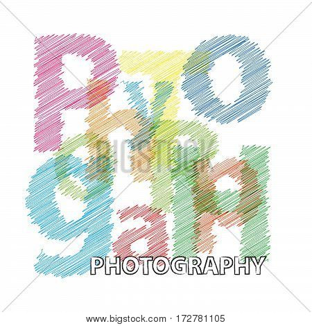 Vector photography. isolated colorful broken text scrawled