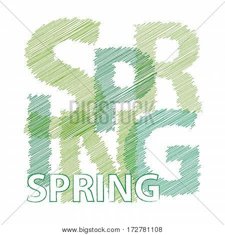 Vector spring. isolated colorful broken text scrawled