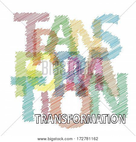 Vector transformation. Colorful broken text scrawled isolated