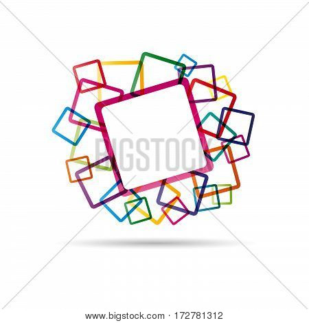 Vector Funky squares design background, isolated illustration