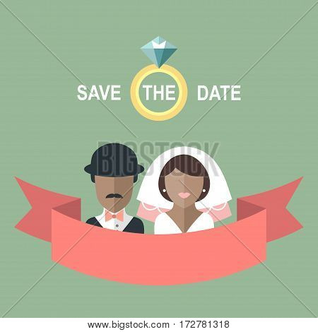 Wedding romantic invitation card with ribbon, ring, african american bride and groom in flat style. Save the Date invitation in vector