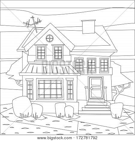 Catroon house building hand drawn vector illustration. Coloring