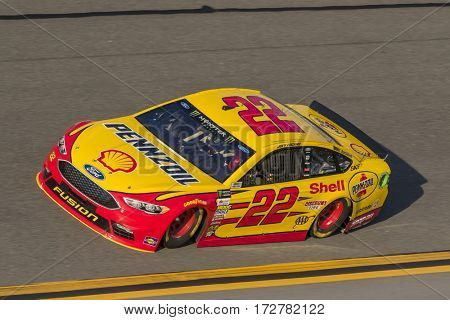 February 17, 2017 - Daytona Beach, Florida, USA:  Joey Logano (22) takes to the track for a practice session for the Advance Auto Parts Clash at Daytona in Daytona Beach, Florida.