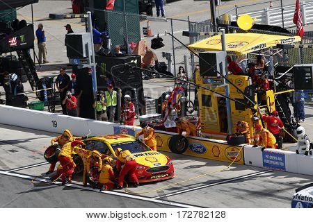 February 19, 2017 - Daytona Beach, Florida, USA: Joey Logano (22) brings his car down pit road for service during the Advance Auto Parts Clash in Daytona Beach, Florida.