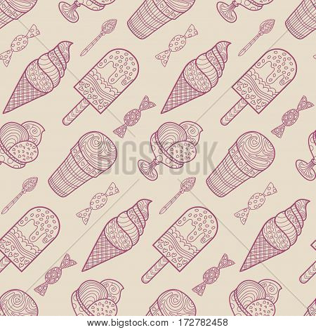 Seamless ice cream and candy background pattern in vector