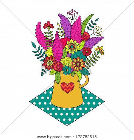 Beautiful bouquet of colored flowers in vase. Vector illustration isolated